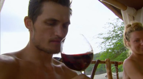Jon contemplates the complexities of wine while Jaclyn contemplates eating Jon